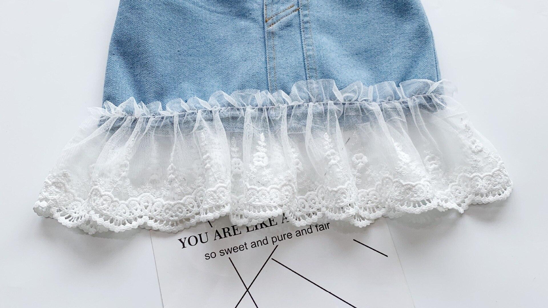 Jargazol Fashion Kids Clothes Puff Sleeve Shirt&lace Denim Skirt Korean Summer Little Girls Clothing Set Cute Children Outfits 4