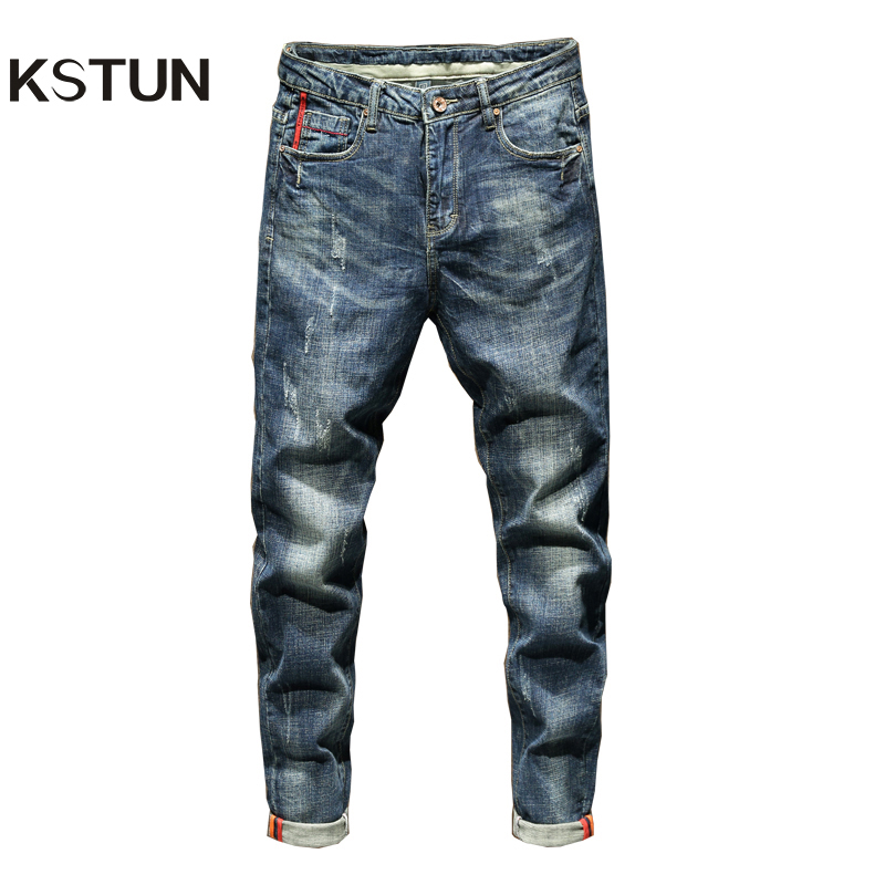 KSTUN Slim Fit Jeans Autumn And Winter Retro Blue Stretch Fashion Pockets Desinger Men Fashions Casaul Man Jeans Brand 2019