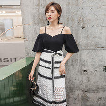 Yigelila Новое поступление лоскутное платье с коротким рукавом