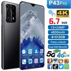 P43 Pro Smartphone Android 9.0 8GB RAM 128GB ROM 3000mAh MTK6580P Octa core CPU 6.7 Waterdrop écran téléphone portable