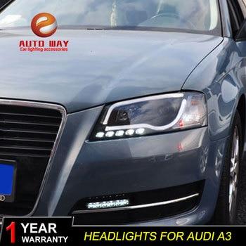 Car Styling for Audi A3 S3 Headlights 2008-2012 for Audi A3 LED Headlight DRL Lens Double Beam H7 D2H HID Xenon bi xenon lens