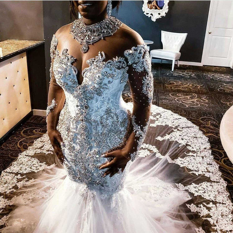 Robe De Mariee Luxury Crystal Beaded Wedding Dress Illusion Long Sleeves Mermaid Bridal Dress Lebanon Wedding Gowns