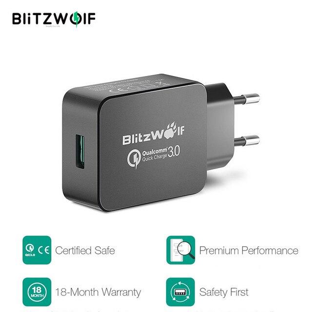 BlitzWolf 18W Quick Fast Charge 3 Universele USB Adapter Telefoonlader Micro USB kabel Type C Mobiele telefoonaccessoires Opladen QC 3.0 voor iPhone Voor Huawei Voor Xiaomi