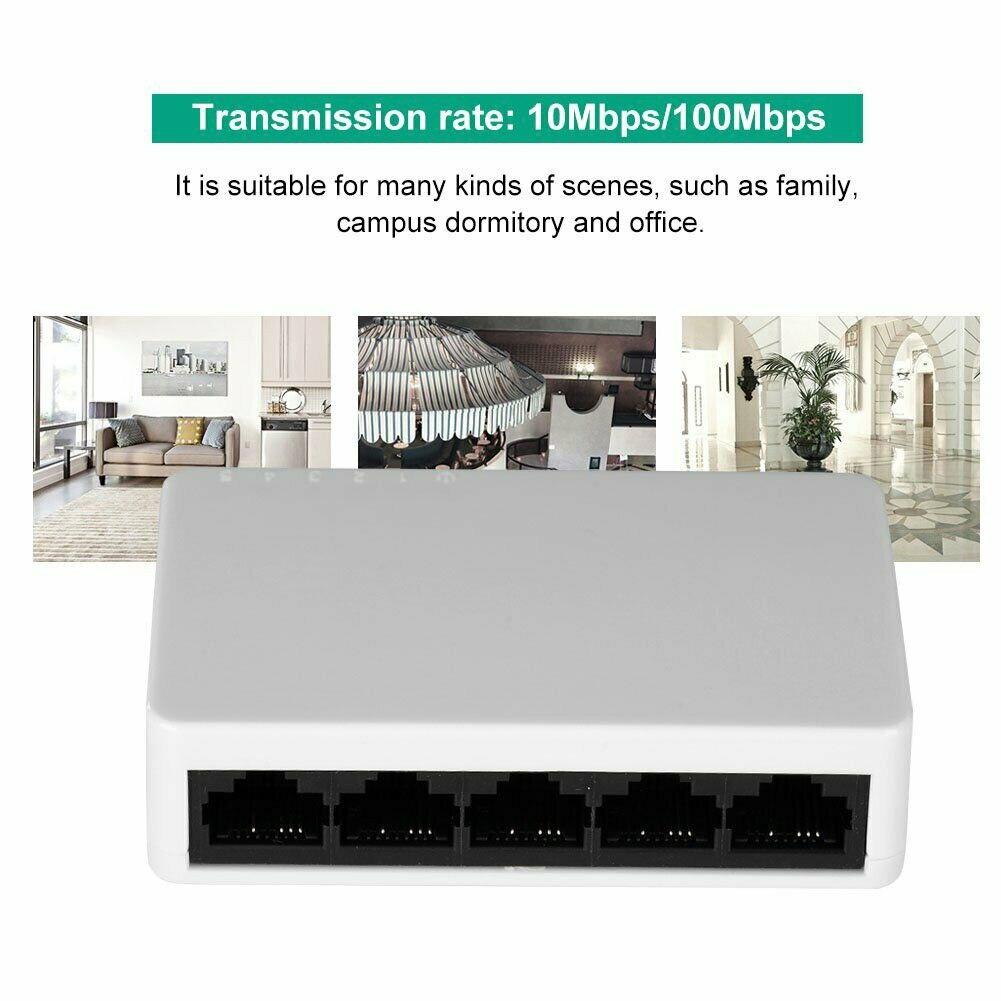 5 Port Ethernet Switch LAN Network Hub Splitter Full//Half Duplex Self-adaptive