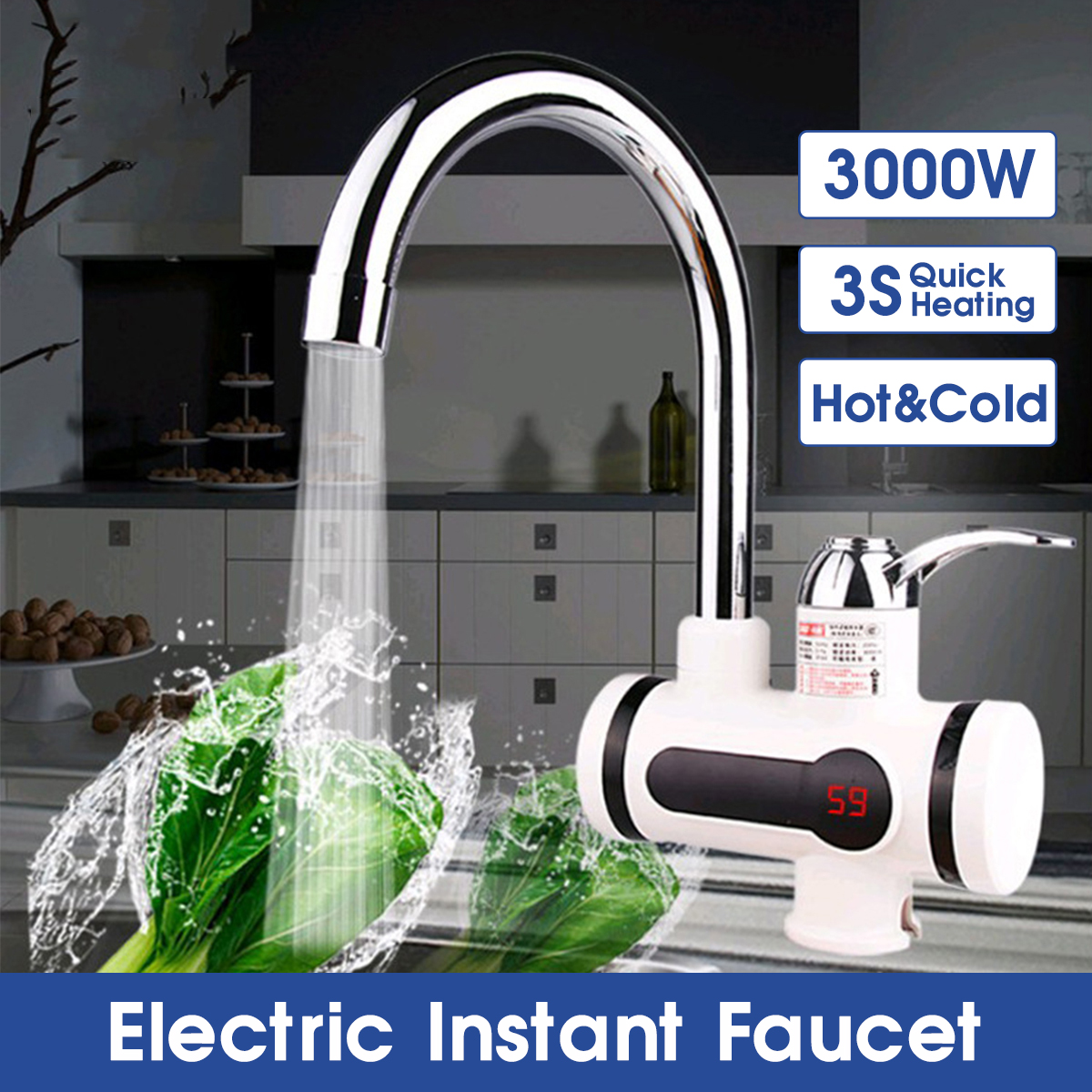3000W 2 IN 1 LED Display Instant Electric Water Heater Faucet Tap Hot Cold Faucet Tankless Kitchen Water Heater Fast Heating