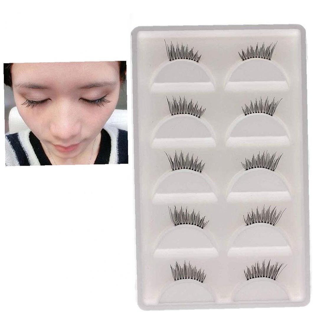 5 Pairs Natural Effect Handmade Fake Eyelashes Soft Reusable Half Eyelash Extensions Beauty Makeup Supplies Black