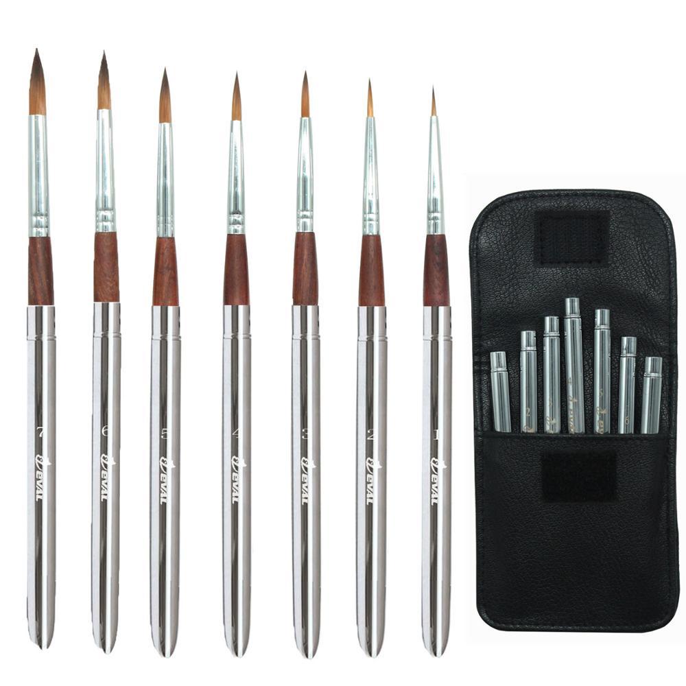 Eval 7pcs Travel Art Paint Brush Set Metal Handle Portable Acrylic Brush For Oil Watercolor Gouache Painting Art Supplies