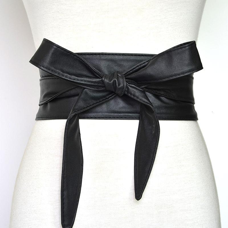 Lace Up Pu Leather Wide Corset Cummerbunds Strap Belts For Women Girls High Waist Slimming Girdle Belt Ties Bow Bands Cinturon