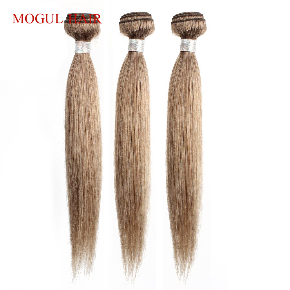 MOGUL HAIR Indian Straight Hair Weave Bundles Color 8 Ash Blonde  3/4 Bundles Non Remy Human Hair Extension 16-24 Inch