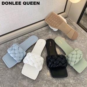 New Fashion Weave Slippers Women Square Toe Flat Casual Shoes Women Slide 2020 Summer Flip Flops Beach Sandal Slipper Big size41