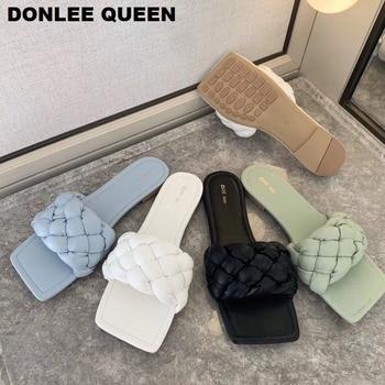 Nuevas zapatillas tejidas de moda para mujer, zapatos planos casuales con punta cuadrada, chanclas de verano 2020 para mujer, sandalias para playa, zapatillas de talla grande 41