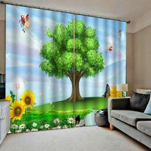 Blackout curtains green curtain 3D Curtains Living Room Bedroom tree Drapes Cortinas Customized size