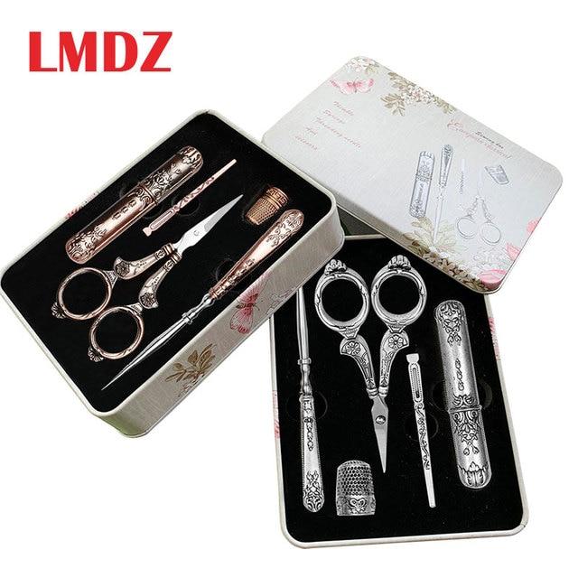 $ US $22.57 LMDZ 15Pcs/ Set Sewing Tool Set Vintage Scissors/ Needle bottle/ Needles/ Sewing Thimble/ Storage Box Sewing Kits For Needlework