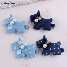 Fashion Flower And Hreat-shaped Tiny Bow Hairpins Denim Mickey Baby Girls Hair Clips Cute Polka Dots Dog Kids Accessories