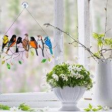 40# Multicolor Birds Rainbow Suncatcher Yard Garden Decor Hanging Vintage Window Suncatchers Bird Ornaments Décoration De Jardin