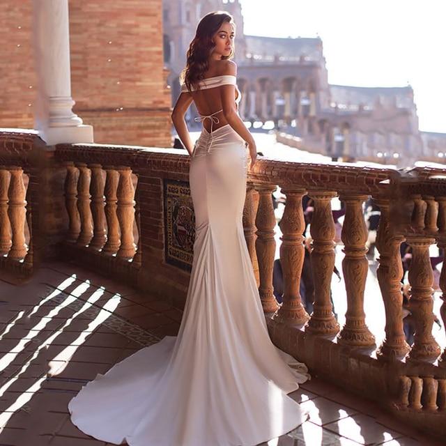 Smileven Mermaid Wedding Dress 2020 Off The Shoulder Silk Satin Robe De Mariee Boho Wedding Bride Gowns