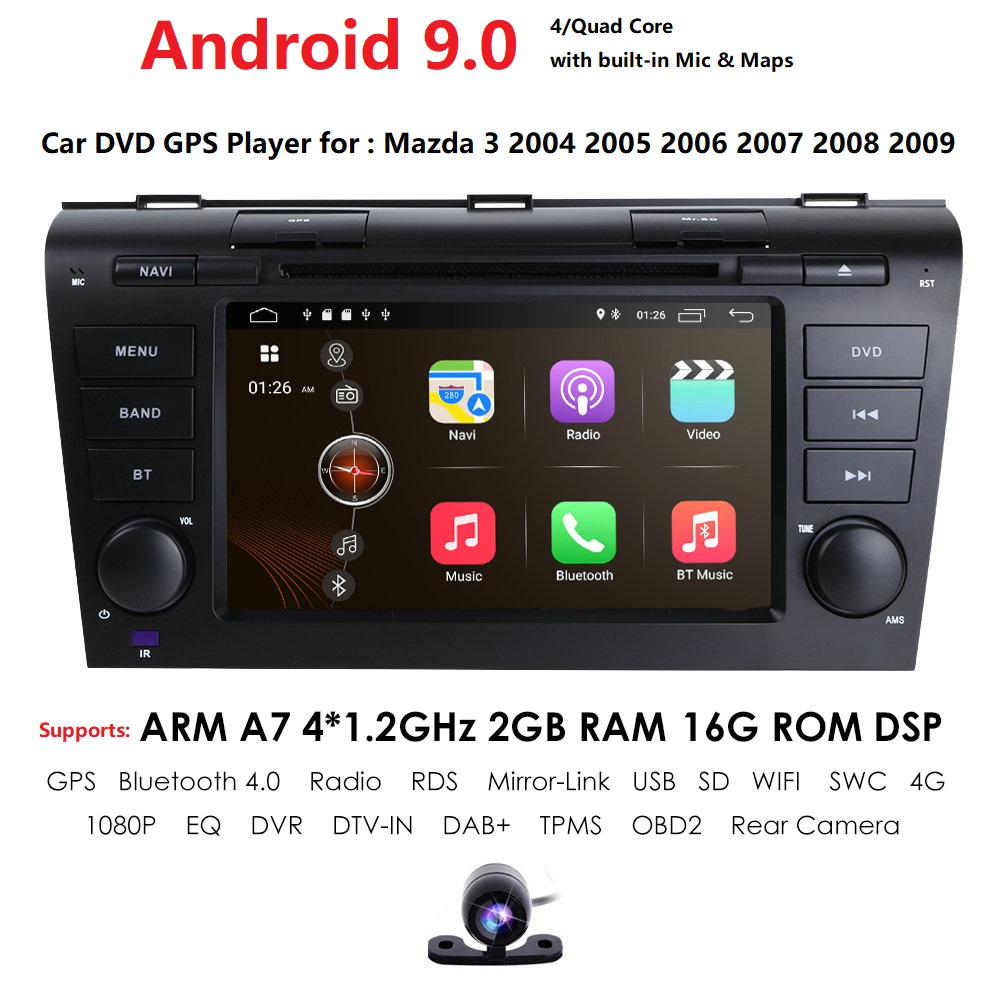 For <font><b>Mazda</b></font> <font><b>3</b></font> 2004-2009 android 9.0 Car DVD GPS <font><b>Radio</b></font> Stereo 2G 16G WIFI Free MAP Quad Core 2 din Car Multimedia Player SWC RDS BT image