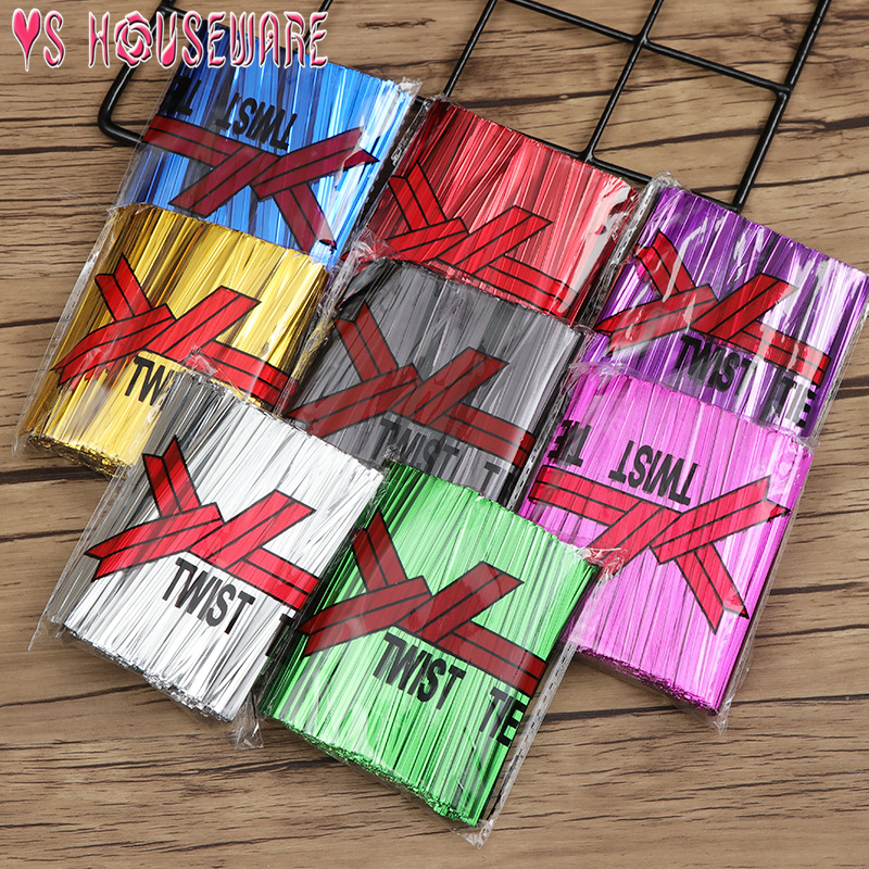 800Pcs/Pack New Wire Metallic Twist Ties For Cello Candy Cookie Cake Bag Wedding Party Birthday Decoration Supplies June 12