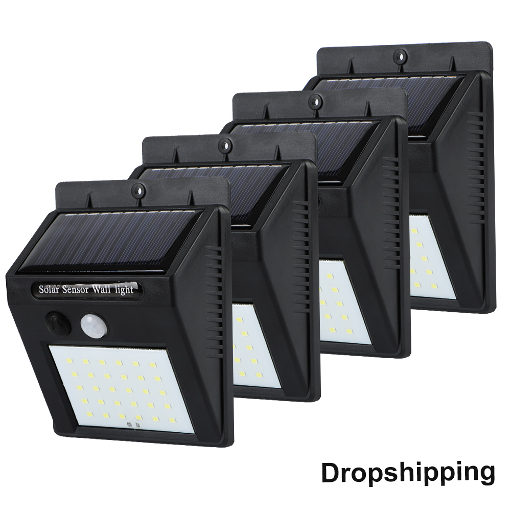 20/<font><b>30</b></font> <font><b>LED</b></font> <font><b>Solar</b></font> Power Light PIR Motion Sensor 1/2/4pcs <font><b>Solar</b></font> Wall Lamp Outdoor Waterproof Energy Saving Garden Yard Lamps image