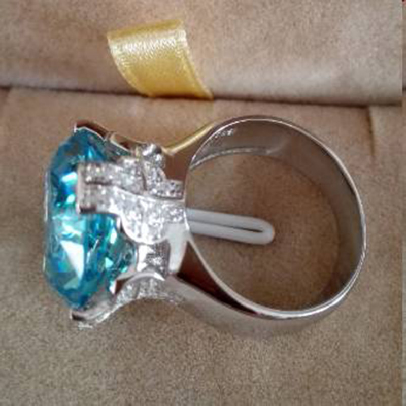 Qi Xuan_Blue pierre luxe Rings_Finger Rings_S925 solide argent mode bleu pierre ring_fabricant directement ventes - 6