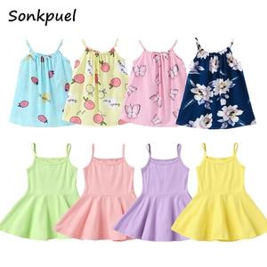 2019 Summer Girls Cute Princess Dresses Children Sling Dress 1 2 3 4 5 6 Years Kids Girl Clothes Toddler Baby Sleeveless Dress(China)