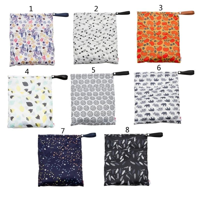Waterproof Reusable Wet Bag Printed Pocket Nappy Bags PUL Travel Diaper Bag