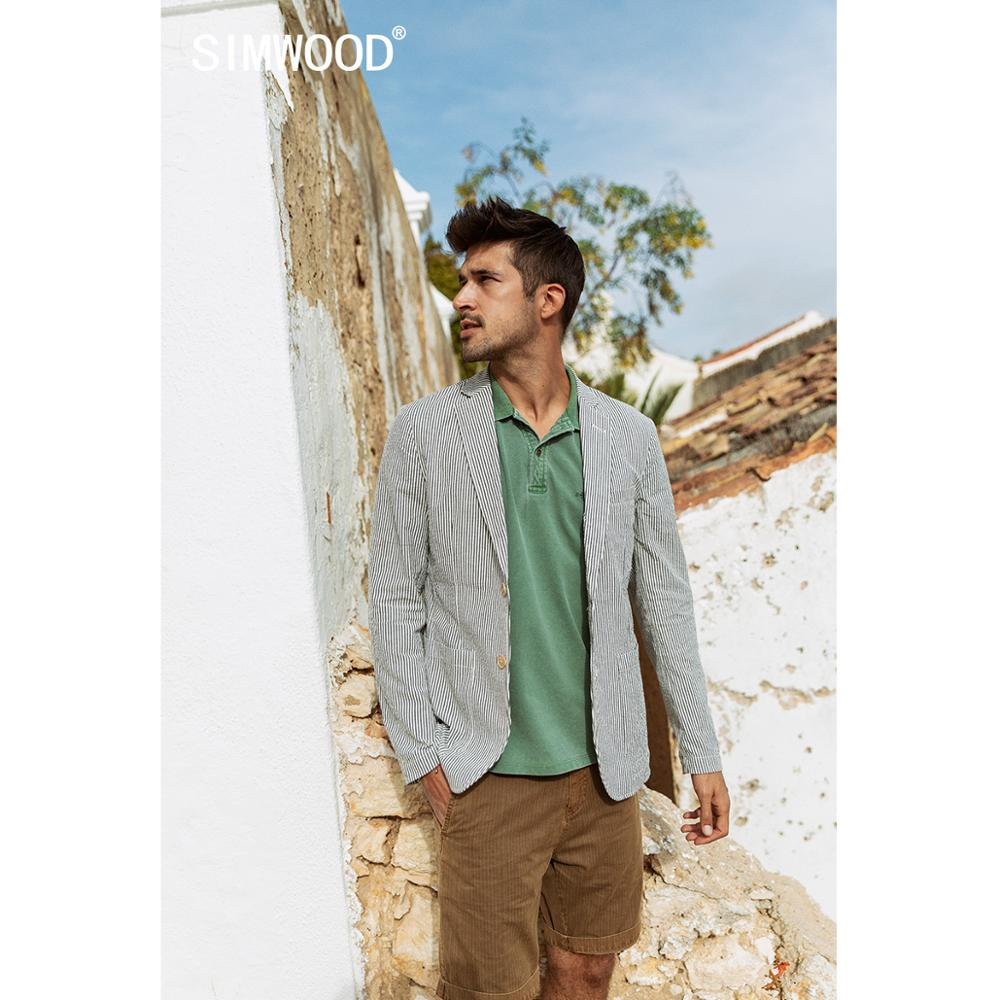 SIMWOOD 2020 Spring New Casual Blazer Men Vertical Striped Suits Jackets 100% Cotton Plus Size Breathable Outerwear  SJ170065