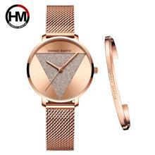 Bracelet à Quartz pour femmes, Bracelet de haute qualité, montre à mailles en acier inoxydable pour jeunes femmes, étanche, 1 ensemble de haute qualité