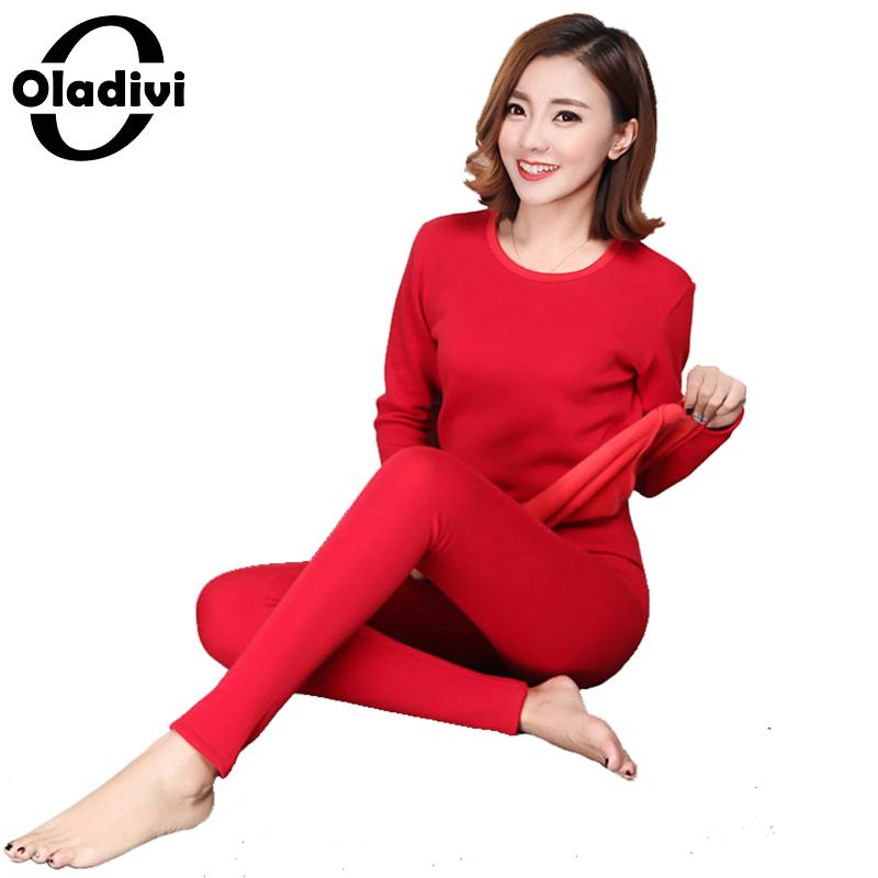 Oladivi Plus Size Winter Velvet Thick Thermal Underwear For Woman Warm Pajamas Set Female Comfortable Long Johns Lady Top Pants