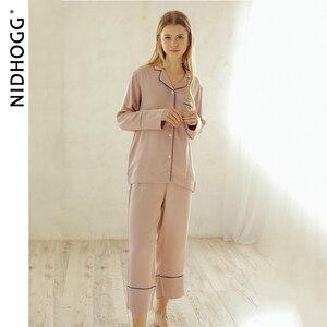 Image 2 - New Elegant High end 6 Color Pajamas Viscose Solid Pijamas Long Sleeve Lounge Wear Women Satin Sleepwear Womens Home Clothes