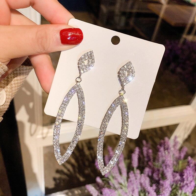 Crystal Diamante Rhinestone Long Tassel Earrings Oval Shape Dangle Big Earrings for Women Wedding Bridal Earrings