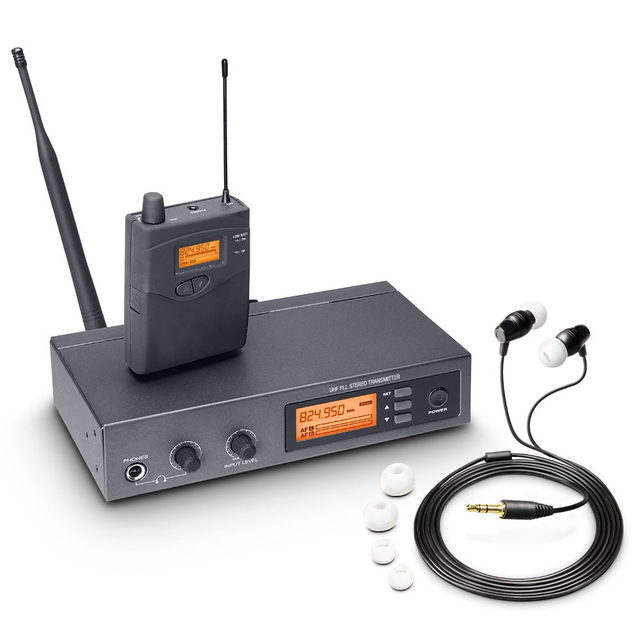 Pasgao PR90 Sistema de monitor intrauditivo estéreo, sistema de monitor inalámbrico, tamaño ligero y pequeño, 655 679MHZ