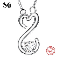 SG 925 sterling silver mom&child big CZ pendant necklaces with chain necklace fashion jewelry making for mother gifts genuine sterling silver 925 love heart mom hug kid necklace in jewelry pendant necklace with cz chain fashion jewelry for mother
