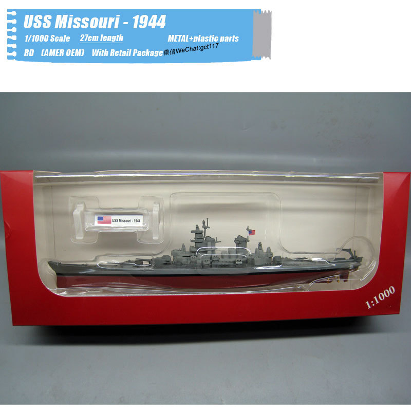 RD 1/<font><b>1000</b></font> Scale Military Model Toys USS Missouri BB-<font><b>63</b></font> - 1944 Battleship Diecast Metal Ship Model Toy For Gift,Kids,Collection image