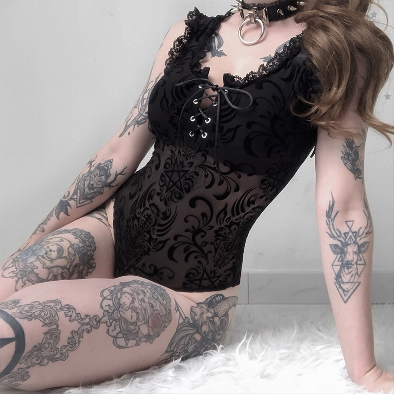 Sexy Lace Bodysuits Women Gothic Dark Sleeveless Square Collar Slim Jumpsuite Club Wear Fashion Skinny Black Playsuits Rompers