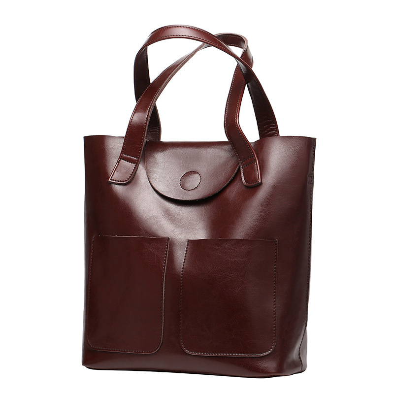 Bucket Genuine Leather Shoulder Bags For Women Patent Leather Handbags Big Capacity Ladies Tote Hand Bags Female 2020