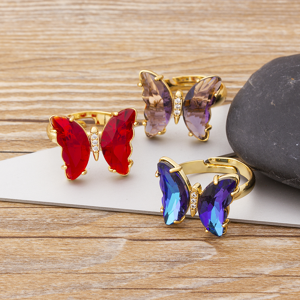 2021 New Fashion Design Gorgeous Butterfly Ring Sweet 10 Colors Transparent Crystal Adjustable Rings for Women Party Jewelry