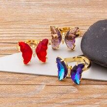 Anillo de mariposa para mujer, anillo ajustable de cristal transparente en 10 colores, joyería de fiesta 2021