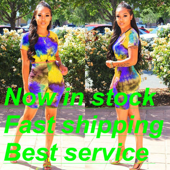 Women's Outfits Two Piece Set Fashion Casual Summer Short Sleeve Tie-Dye Print T-Shirt and Shorts Set