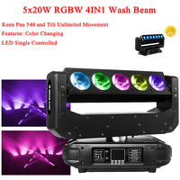 Professional LED Wash Beam Moving Head Light 5x20W RGBW 4IN1 LED Beam Lights DMX DJ Christmas Party Venue Show Stage Lights
