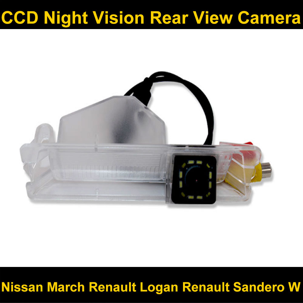 CCD HD Night Vision 12LED Special Car Rearview Rear View Reverse Backup Camera For Nissan March Renault Logan Renault Sandero W
