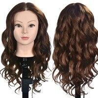 20 Human Hair Training Head Long Brown Hair for Salon Hairdressing Dummy Dolls Professional Perm Bleaching Hair Head Mannequin