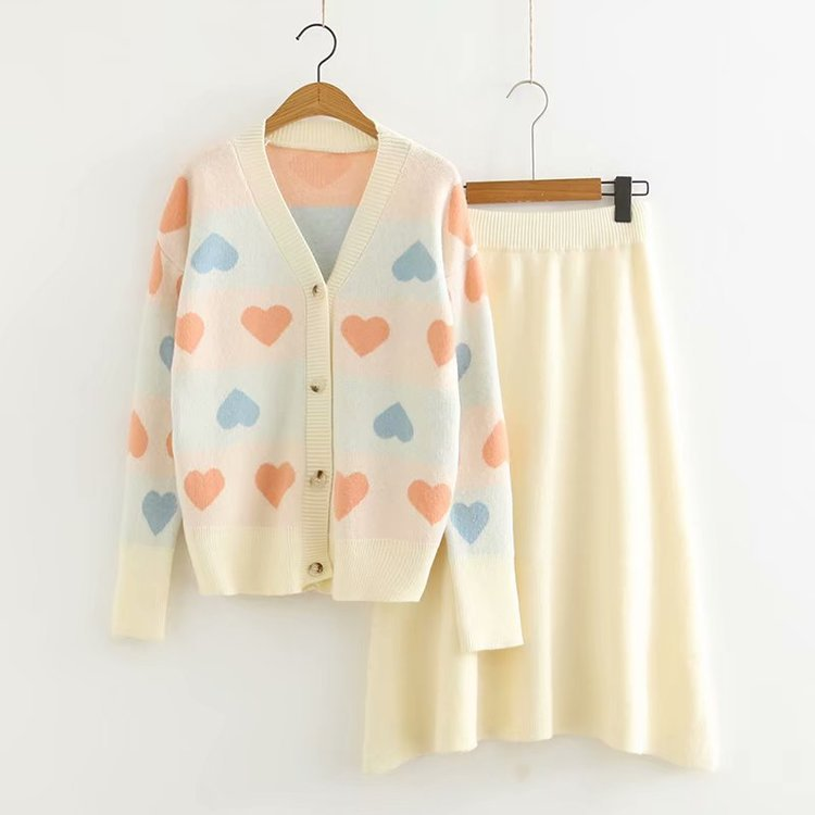 Autumn New Style Colored Loving Heart Jacquard Students Set GIRL'S Knitted Cardigan Skirt Fashion WOMEN'S Suit S28232