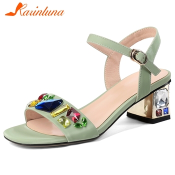 Karinluna 2020 Hot Sale Large Size 43 High Quality Peep Toe Summer Sandals Woman Shoes Buckle Strap Crystal Shoes Women