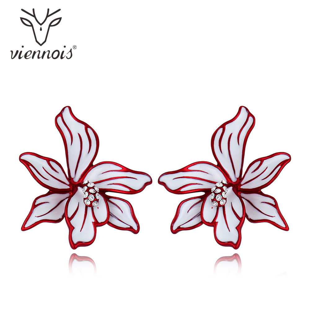 Viennois Blue/ Red Flower Enamel Stud Earrings For Women Female Brand Fashion Earrings Jewelry