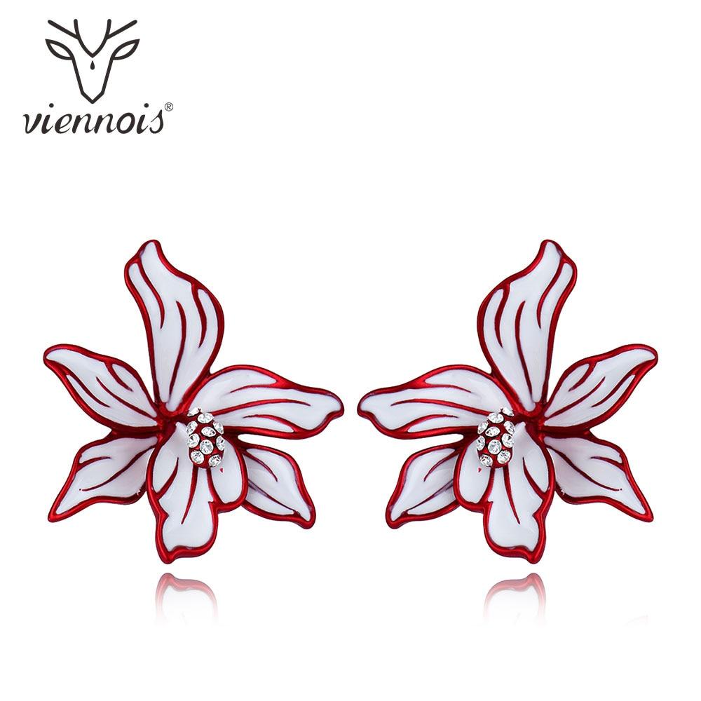 Viennois Blue/ Red Flower Enamel Stud Earrings For Women Female Brand Fashion Earrings Jewelry