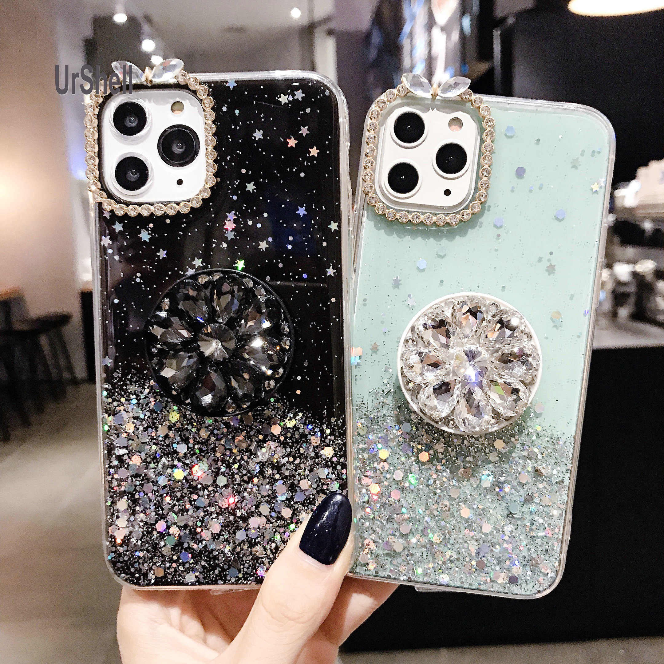 Diamond Case For <font><b>Samsung</b></font> S20 Ultra S10 <font><b>S10E</b></font> S9 Note10 9 8 Plus A51 A71 A91 A70S A30S A50S A90 A20S A40S M30 Ring Holder Case image