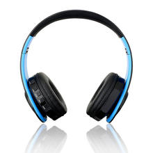 Wireless Headphones Bluetooth Headset Foldable Headphone Adjustable Earphones With Microphone For PC mobile phone Mp3, black-blu(China)