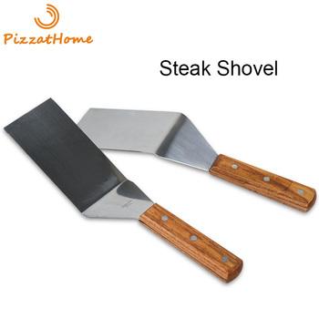 Pizzahome szpatułka ze stali nierdzewnej Grill łopatka do steków z drewnianą rączką narzędzie do grillowania stek wołowy Turner kwadratowa okrągła łopata do grillowania tanie i dobre opinie CN (pochodzenie) Ekologiczne Naczynia PAH015 Metal STAINLESS STEEL Tokarstwo Stainless Steel Steak Shovel Silver Stainless Steel Wood