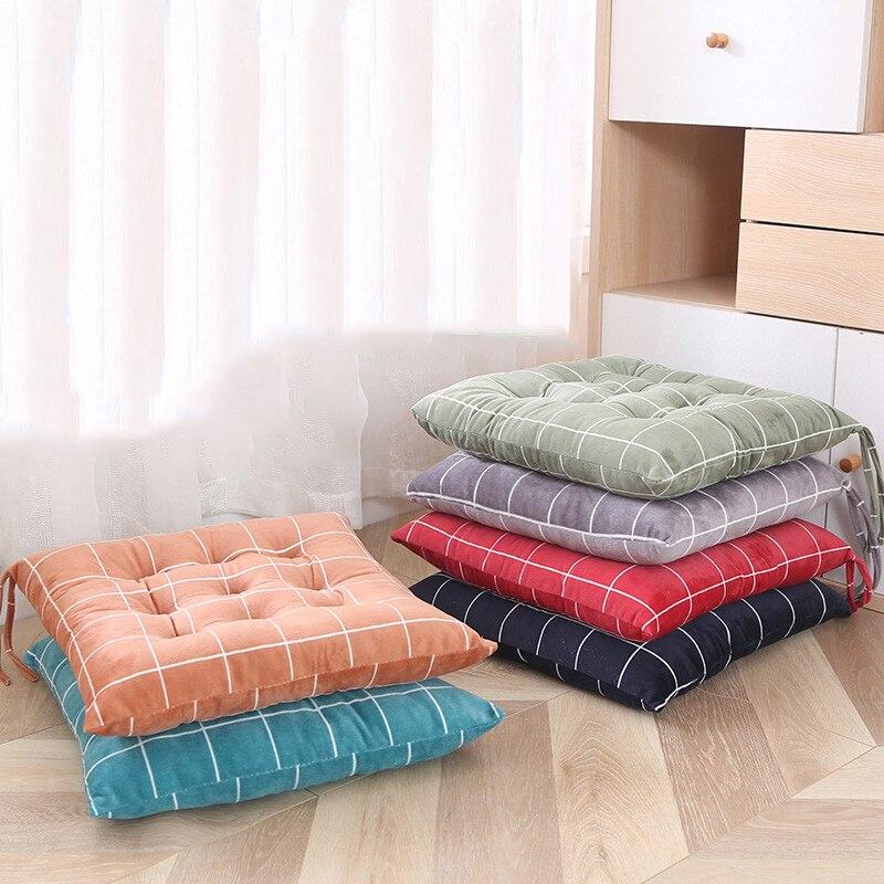 Thickened Chair Cushion Colorful Student Seat Cushion Warm Dining Chair Pad Soft Plush Buttocks Sitting Mat Plaid Sofa Pillow